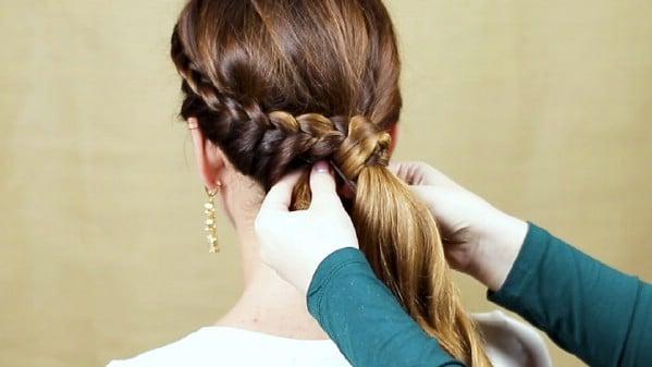 Securing side ponytail braid