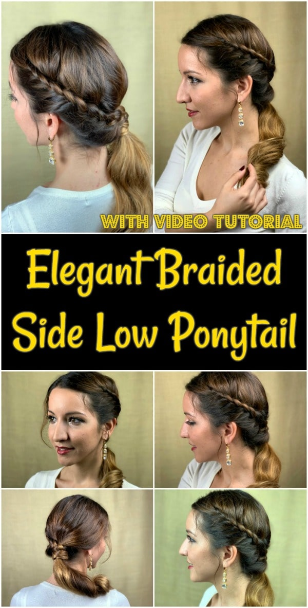 Collage of side low ponytail