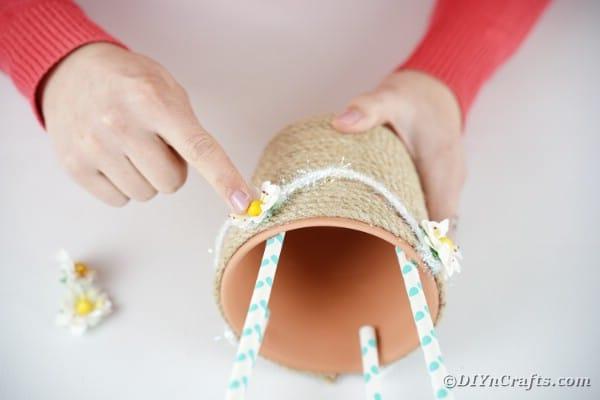 Adding rope ribbon basket