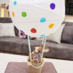 Easter hot air balloon on table by couch