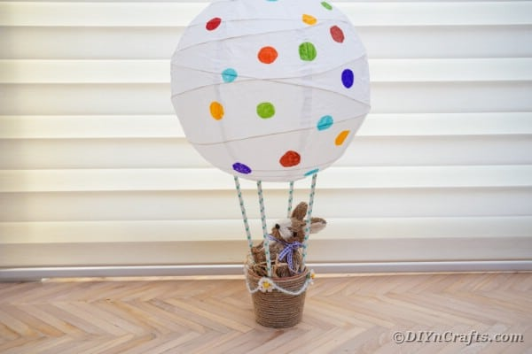 Easter bunny air balloon in front of window