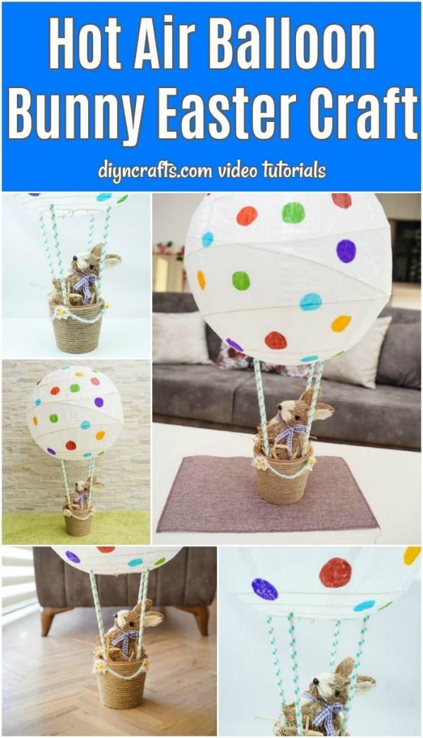 Hot air balloon bunny basket collage