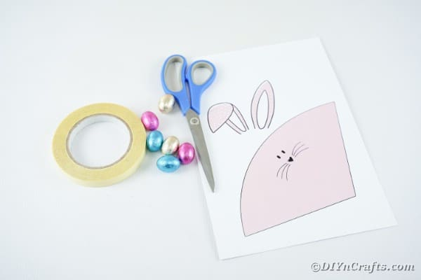 Supplies for making bunny holder