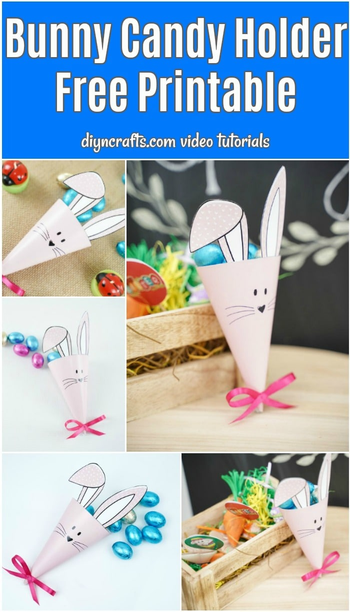 Printable bunny cone candy holder collage