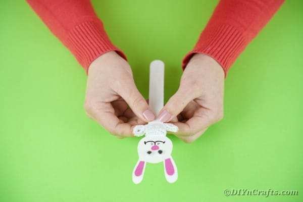 Adding pipe cleaner to bunny