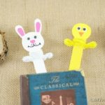 Bunny and chick Easter bookmarks on burlap
