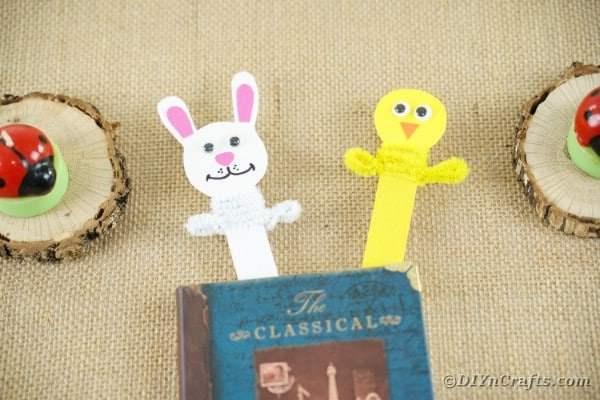 Popsicle Stick Bunny and Chick Easter Bookmarks