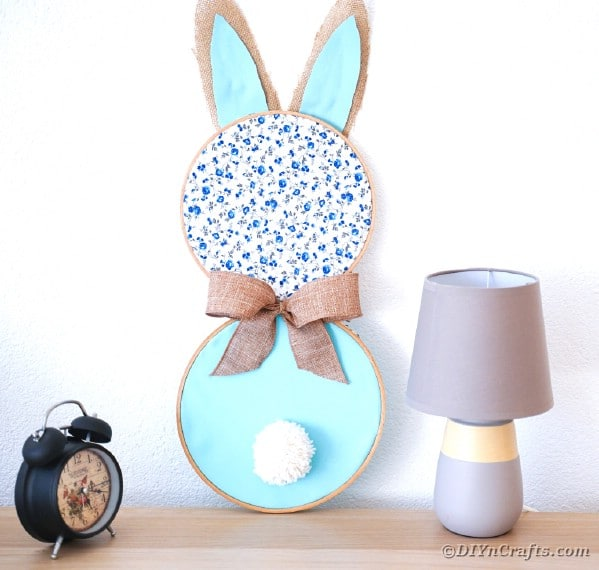 Bunny wall art on desk