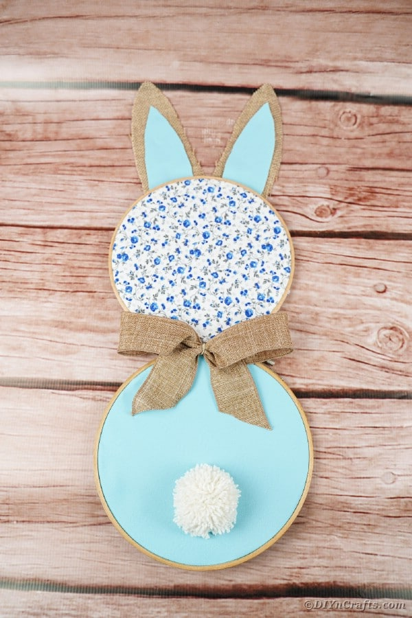 Easter bunny on wood surface