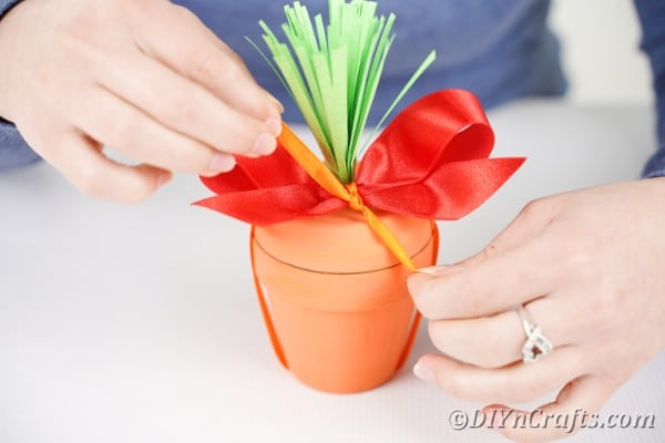 Adding red ribbon top of flower pot