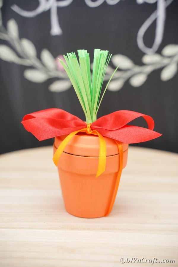 Flower pot in front of chalkboard with red ribbon