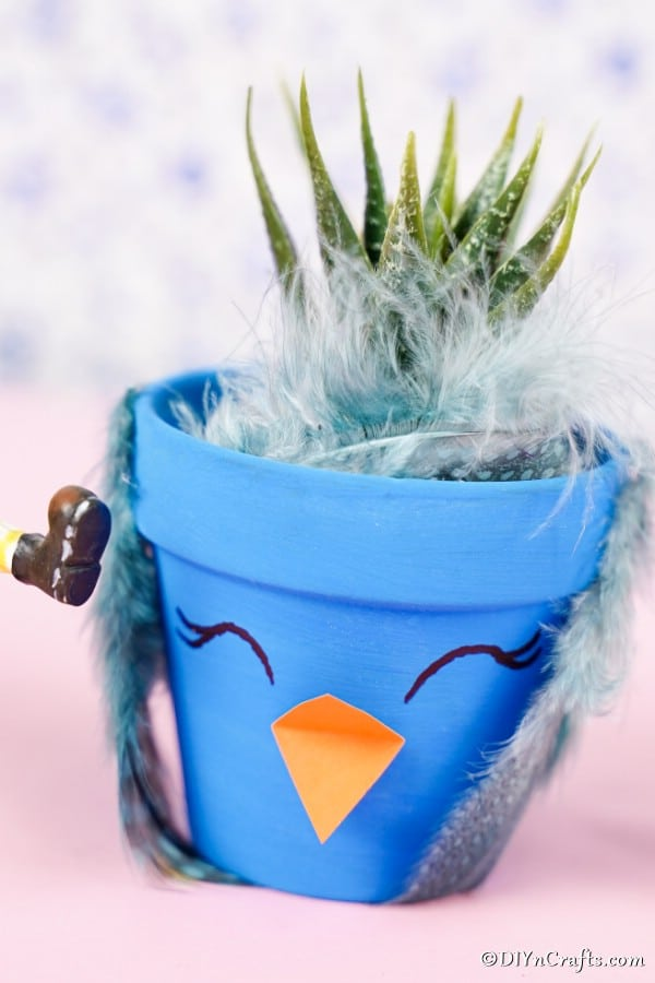 Blue bird flower pot on pink surface
