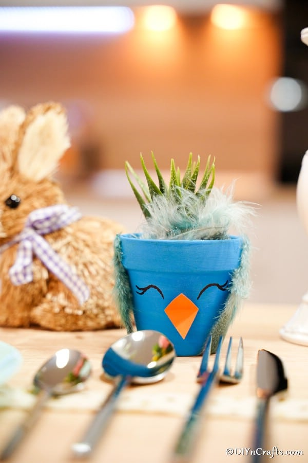 Blue bird craft at place setting