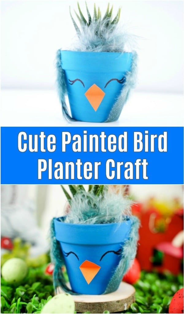 Blue flower pot bird decoration