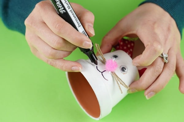 Drawing mouth on flower pot bunny