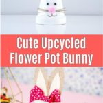 Flower pot bunny with pink bow collage