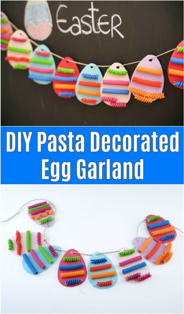Pasta egg garland on chalkboard on white surface