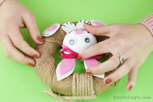 Gluing ribbon on bunny