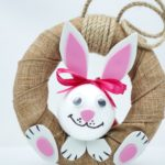 Easter bunny burlap wreath in front of white background