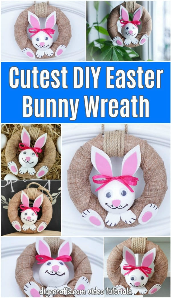 Burlap wrapped wreath with bunny