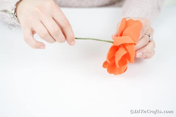 Gluing stem on a fabric flower