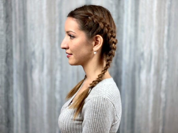 Side view of double dutch braids