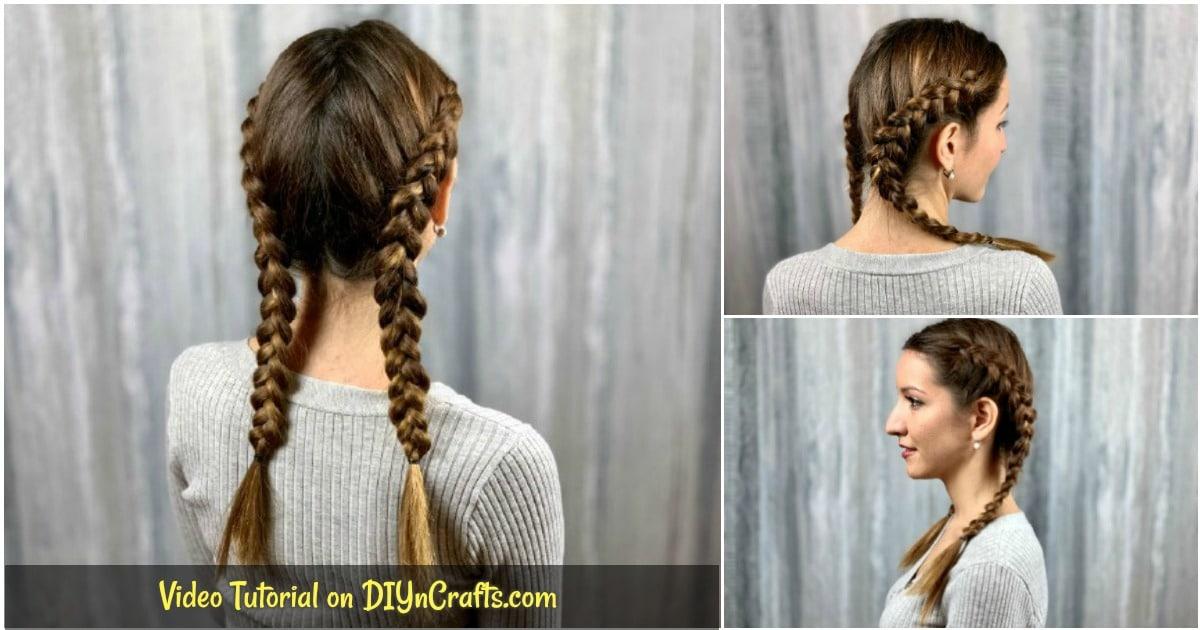 Double Dutch Braid Hairstyle Video Tutorial Diy Crafts