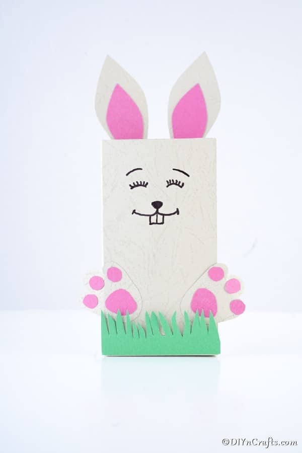 Easter bunny bag on white surface