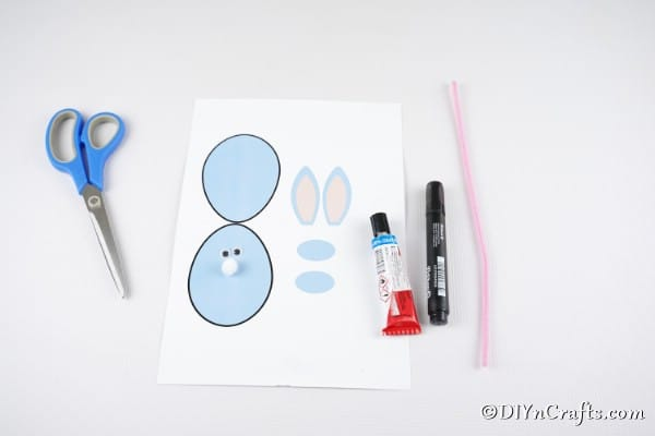 Supplies for making Easter egg bunny card