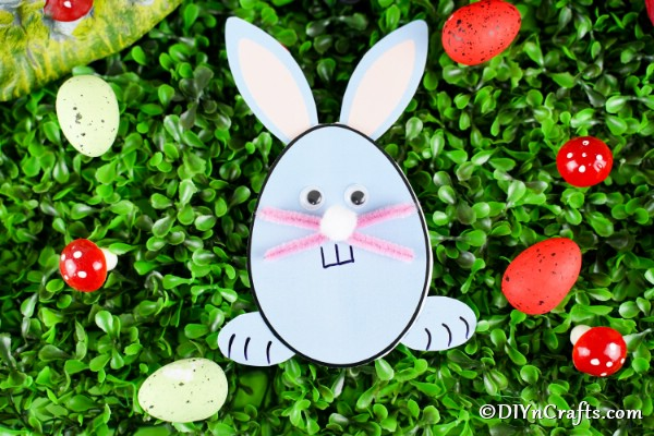 Printable Egg Shaped Easter Bunny Card