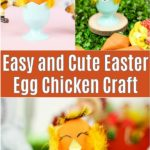 Cute easter egg chicken craft collage