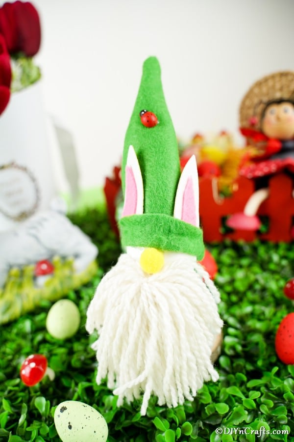 Easter gnome on fake grass