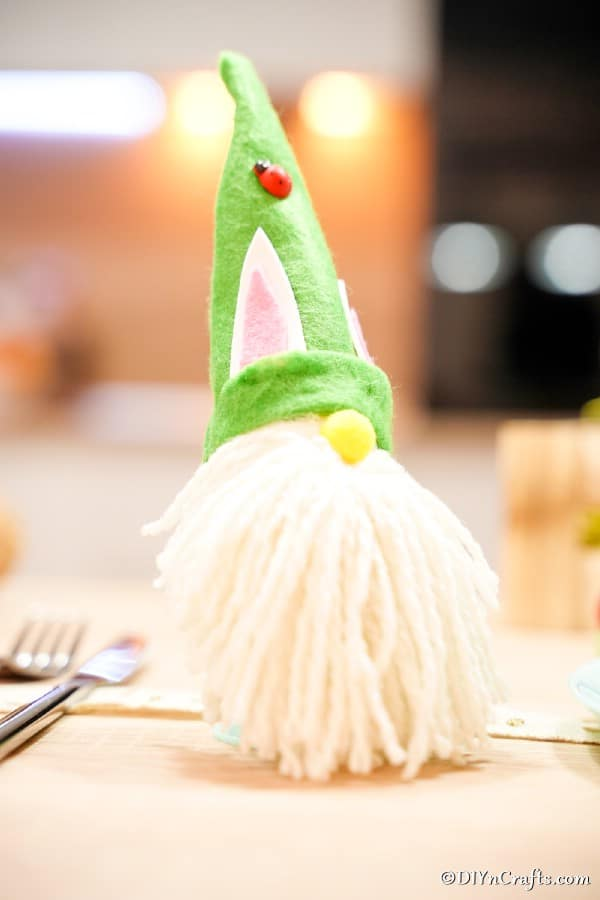 Easter gnome on dinner table
