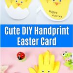Easter handprint card chicken displayed