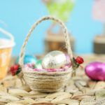 Egg carton easter basket on woven mat