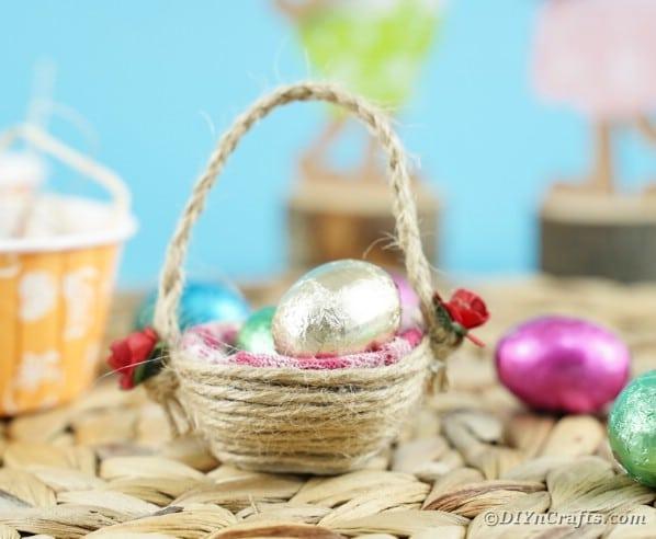 Egg carton easter basket on woven mat