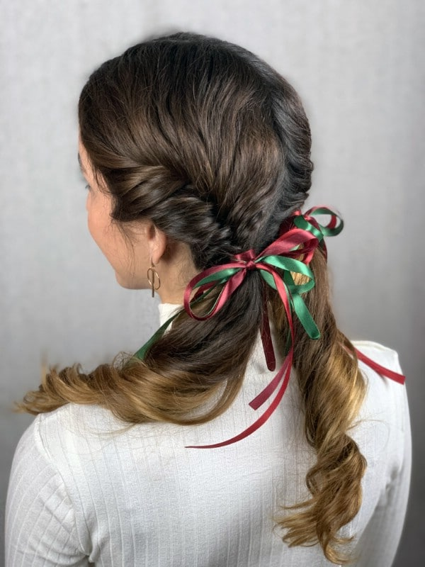 Back of pigtail braided hairstyle