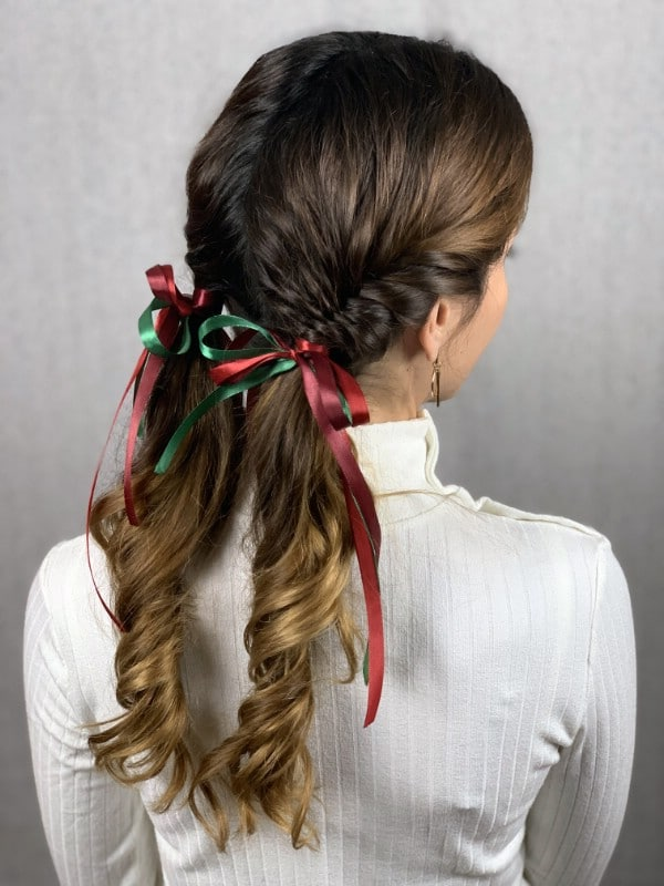 Fishtail braid pigtails with ribbons