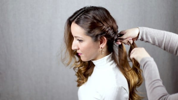 Braiding hair down side of head