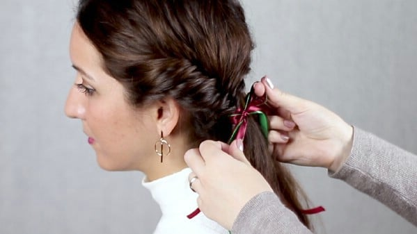 Adding ribbons to braids