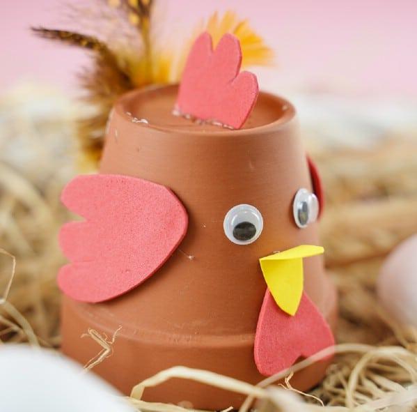 Flower pot chicken on hay