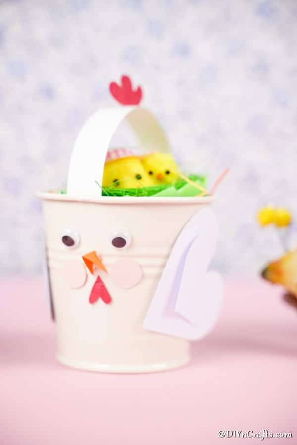 Chicken bucket filled with Easter eggs