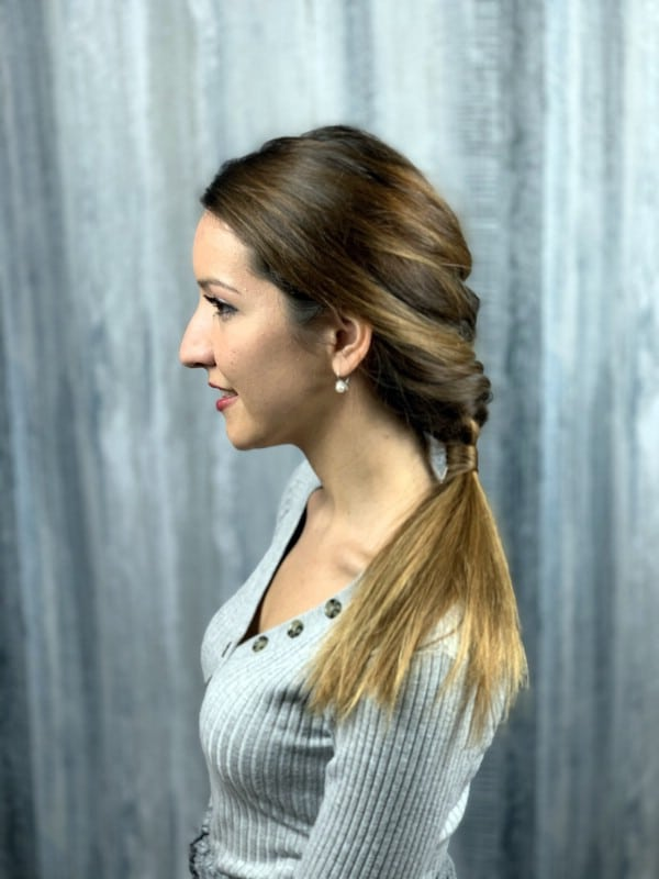 Side view of horsetail braid ponytail