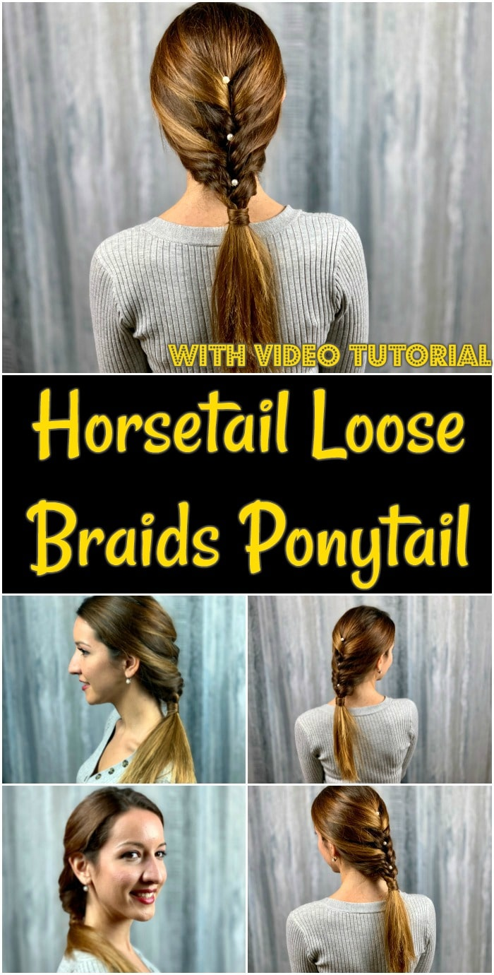 Collage of horsetail loose braids ponytail