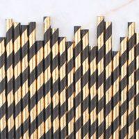 Black & Gold Foil Paper Straws