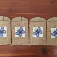 4 Cross Stiched Burlap Butterfly Envelopes