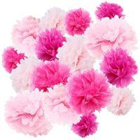 Assorted Set of 24 Tissue Paper Flower Pom Poms