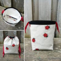 Ladybug Print Linen Knitting Bag, Drawstring