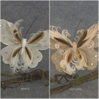 12pc, Artificial Butterflies, 7 inches wide, Burlap, Feathers, with clip, for wedding, floral, wholesale, per 12