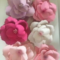 "SET OF 3 one large (10"") two small (5"") paper flowers, fully assembled paper flower decor"